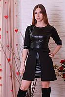 Оригинальное модное молодежное кожаное платье с юбкой из неопрена. черный, 44