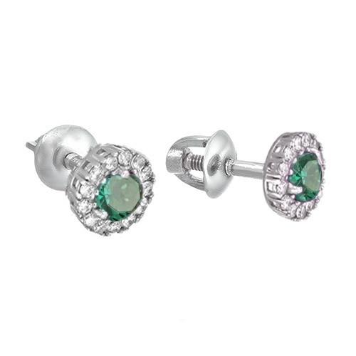 Серебряные серьги пуссеты гвоздики с зеленым кварцем Солнышко 31653
