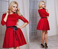 Модное красное платье юбка клёш с пояском Арт.-5135/48