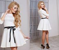 Модное белое платье юбка клёш с пояском Арт.-5135/48