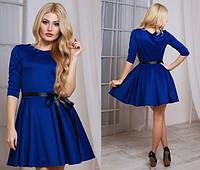 Модное синее платье юбка клёш с пояском Арт.-5135/48