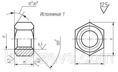 чертеж Гайки высокопрочной М36 ГОСТ 22354-77