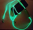 Светящиеся проводные вакуумные наушники с микрофоном Glow MDR 618 Blue пульсируют в такт музыке, фото 3