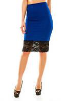 Женская модная юбка т. трикотаж отто+французское кружево / электрик
