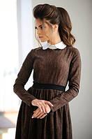Коричневое джинсовое платье длинный рукав Арт.-5140/48