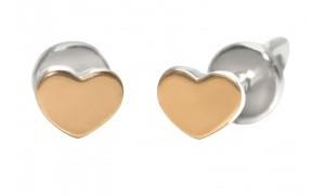 Серебряные серьги пуссеты гвоздики Сердце с золотом 32738