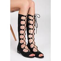 Высокие женские римские сандалии замшевые черные