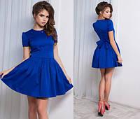 Модное коттоновое платье юбка клёш синее. Арт.-5143/48