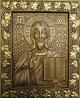 Икона Господа Вседержителя резная с позолотой