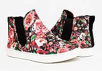 Высокие женские кроссовки цветочные с резинкой