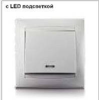 Выключатель LEMANSO Сакура  1-й + LED подсветка белый  LMR1004