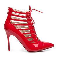 Лаковые женские ботильоны красные со шнуровкой