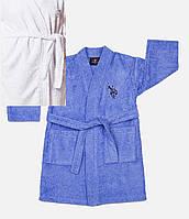 Детский махровый халат U.S. Polo Assn USPA EKRU 7-8 лет. кремовый.