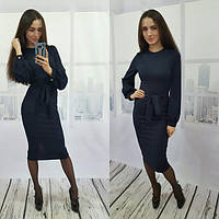 Женское  платье с поясом синее ВФ-42