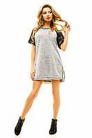 Свободное короткое платье с кожаными рукавами
