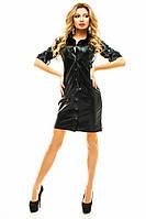 Черное кожаное платье на кнопках