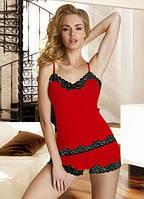 Женская кружевная пижама красного цвета на тонких бретелях. Модель Aria Eldar.