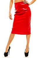 Женская юбка - карандаш с разрезом эко-кожа