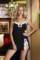 Женский пеньюар черного цвета с белыми кружевами. Модель Roma Eldar., фото 1