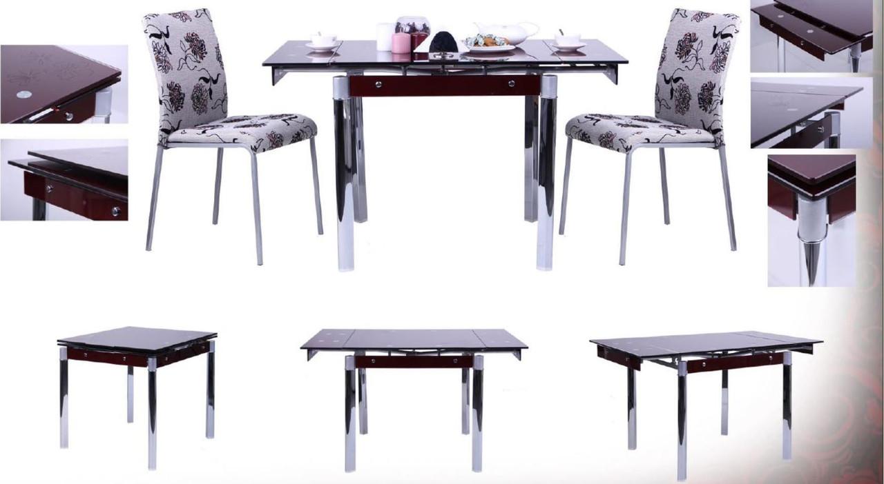 Стол обеденный Сабрина B179-60 База хром/стекло бордо (Раскладной)