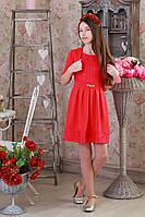 Стильное праздничное трикотажное детское платье с гипюром, с болеро.