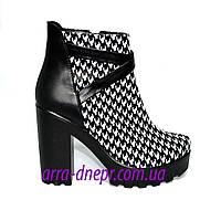 """Женские демисезонные ботинки на тракторной подошве, кожа """"гуси"""", фото 1"""