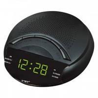 Часы сетевые VST 903-2 зеленые, радио FM