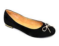 Туфли женские черные замшевые, декорированы металлическим бантиком
