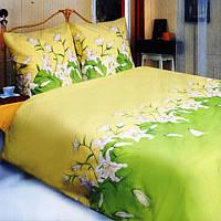 Двухспальное Евро постельное белье ТЕП Лилия зеленая