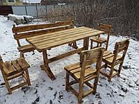 Комплект садовой мебели. Лавка + 4 стула + стол. Мебель для дачи из дерева. , фото 1