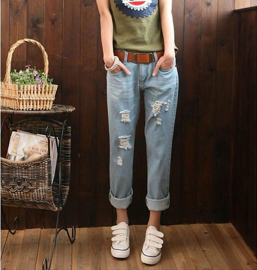 0b26b0bb92a Недорогие женские джинсы Бойфренд голубого цвета - moishop интернет-магазин  в Каменском