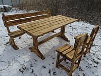 Деревянная садовая мебель. Комплект мебели для дачи. Садовый набор из дерева. Лавка + стол + 2 стула.