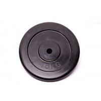 Диск для штанги (блин) домашний обрезиненный черный RCP10-15 кг (26 мм)