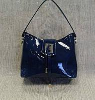 Женская сумка лаковая синяя из качественного кожзама(Турция)