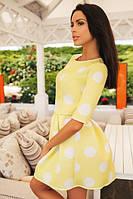 Платье Неопрен Крупный Белый Горох Лимонный Желтый