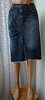 Юбка джинсовая модная шикарная синяя бренд Fornarina р.46 6105а