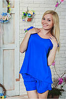 Костюм женский летний с шортами синий