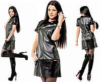 Платье женское черное кожаное с воротничком ОД/-5127