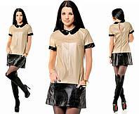 Платье женское бежевое кожаное с воротничком ОД/-5127