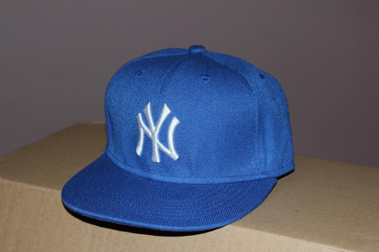 Синяя детская реперка бейсболка с прямым козырьком Нью - Йорк детская