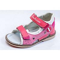 Детские кожаные ортопедические босоножки для девочек р.22-27 розовые качественные и удобные