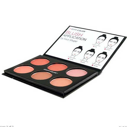 Палитра румян CITY COLOR Glow-Pro Blush Palette Shimmer Collection, фото 2