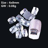 Стразы для дизайна ногтей.Цвет Crystal (6х8мм).Цена за 1шт