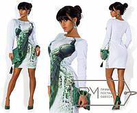 """Элегантное короткое женское платье """"Павлины"""""""