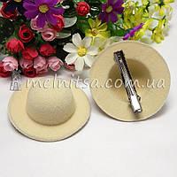 Основа для заколки - шляпка 7 см, бежевый