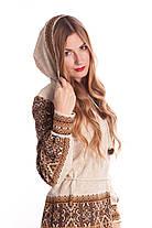 Вязаная туника Влада коричневая с капюшоном   В'язана туніка Влада коричнева з капюшоном, фото 2