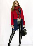 Кашемировое двухцветное женское пальто