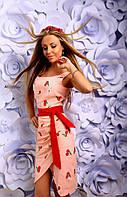 Платье Летнее льняное на запах пудра вышивка гладью