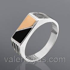 Перстень мужской серебро 925 с золотой вставкой и ониксом