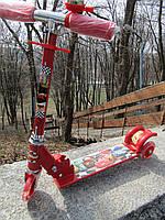 Самокат детский трехколесный металлический красный Тачки